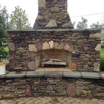 outdoor fireplace yard