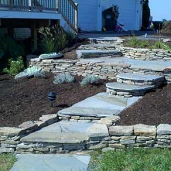flower beds stone stairs